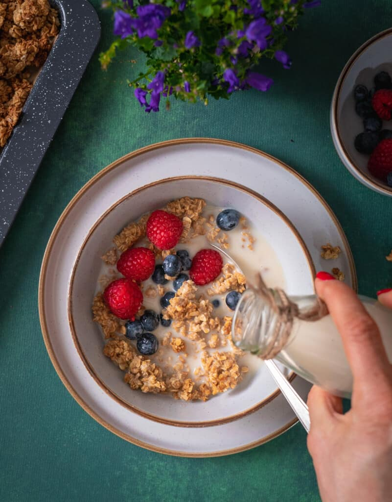 Crunchy clean peanut butter granola made with only 3 ingredients.