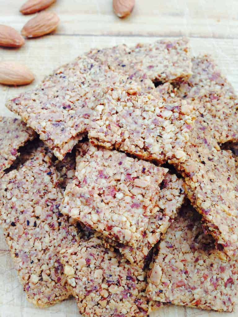 Homemade, healthy almond crackers that are gluten-free, vegan, low-carb, delicious and made with only a few simple ingredients.
