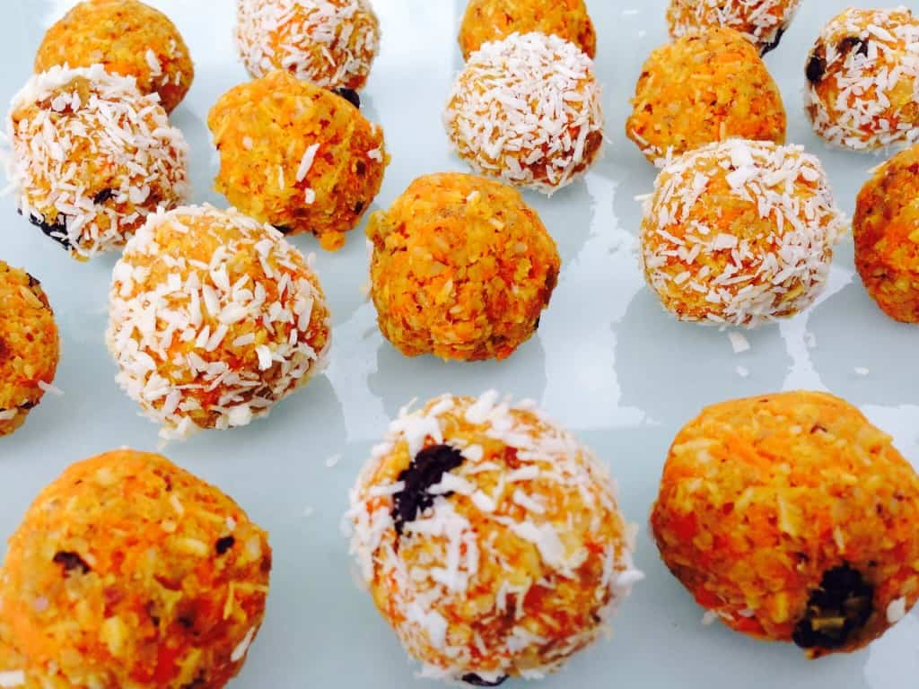 Vegan carrot protein energy balls are gluten-free, dairy-free, no refined sugar and brilliant on-the-run-brekkie balls