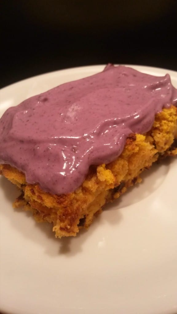 Best coconut flour recipes - Spiced Pumpkin and dark choc chip slices with Acai berry frosting