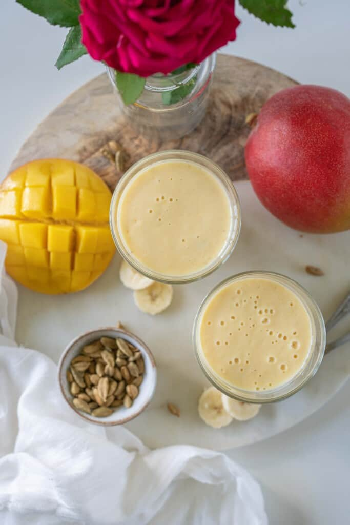 Mango Banana Lassi is very refreshing, soothing, cooling, thick and creamy breakfast recipe. You only need 5 ingredients and a blender to make this quick and delicious breakfast.