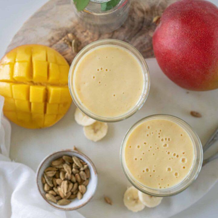 Mango and banana lassi