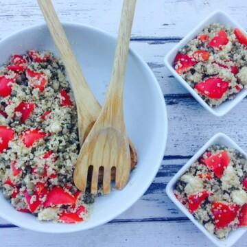 Quinoa, lentil & red pepper salad recipe | Hedi Hearts