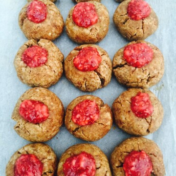 Healthy Peanut Butter Cookies with Chia Jam