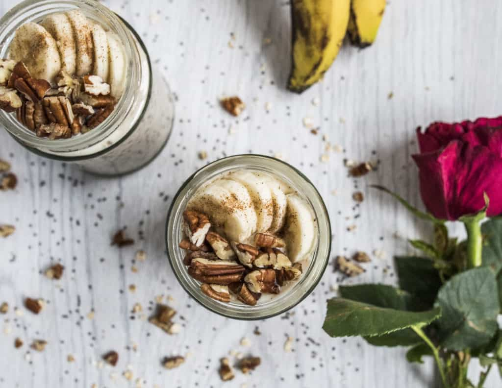 Creamy, delicious and healthy banana bread overnight oats recipe made ready in 5 minutes. Well-rounded breakfast packed with nutrients and flavours.