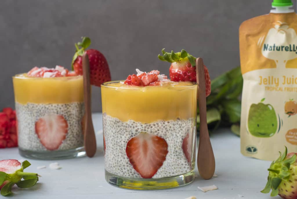 This healthy jelly chia pudding recipe is great for breakfast, dessert or snack. It is quick, healthy, and perfect to whip up for any day or night of the week or even for larger parties! #vegan #glutenfree #dairyfree #nutfree