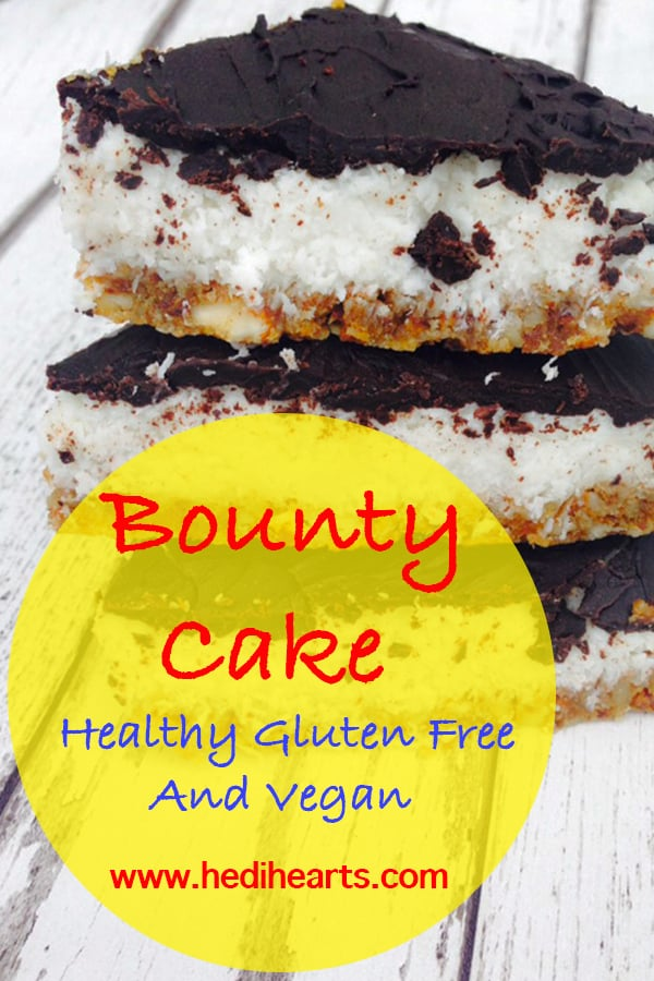 Bounty cake recipe which is healthy, gluten free, vegan, made with raw chocolate, coconut milk, some nuts and a bit of love? Yes, we are doing this! #veganrecipes #healthycake #coconutcake #bountycake #bounty #glutenfree #dairyfree