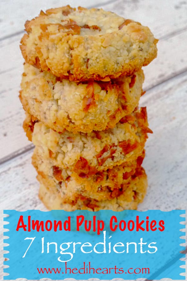 Almond pulp cookies recipe made with leftover pulp from almond milk. Simple, quick, delicious and gluten-free almond pulp cookies. Enter for more! #veganrecipes #pulpbiscuits #pulpcookies almondpulp #glutenfreerecipes