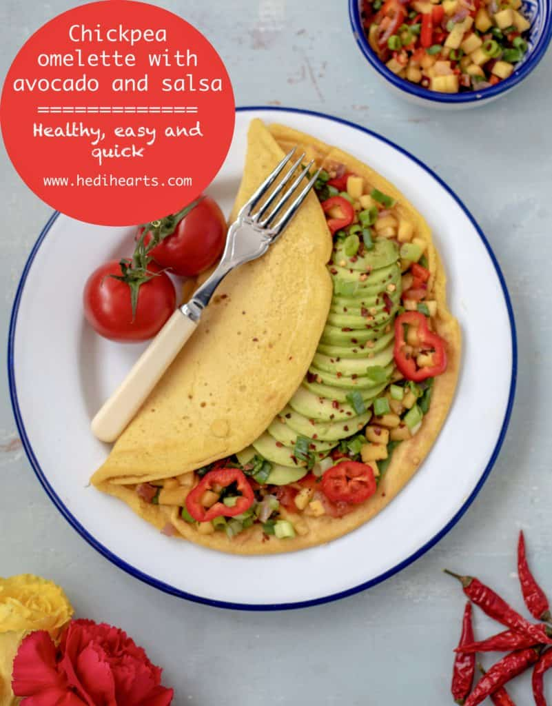 This delicious Chickpea Omelette with Avocado and Mango Salsa recipe omelette is a brilliant savoury breakfast idea, quick & light lunch or the perfect weekend brunch dish. It's vegan, gluten, nut and dairy free too! #veganrecipes #dairyfreerecipes #healthyfoods #wholefoods #fastfreshfood #glutenfreerecipes