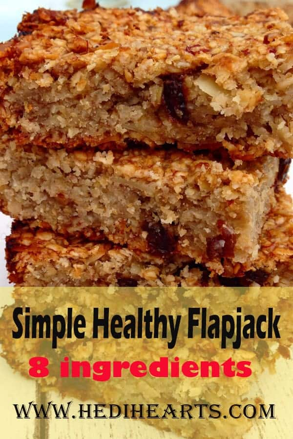 Simple and clean flapjack with no butter, refined sugar or flavourings. #vegan #cleaneating #simpleflapjack #healthyflapjack #easyrecipes #veganflapjack