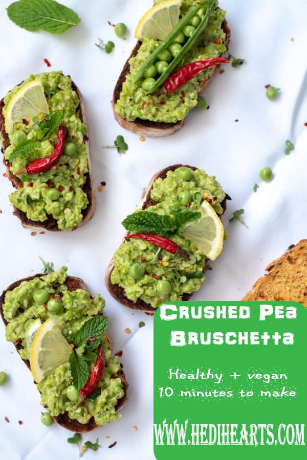 This healthy crushed pea bruschetta recipe makes the brunch, light lunch or mid-week dinner. meal. This is really quick recipe to make and tastes delicious too! #veganbrunch #planbased #brunchideas #healthyrecipes #veganrecipes #healthylunch #veggiebreakfast #smashedpea #bruschettarecipe