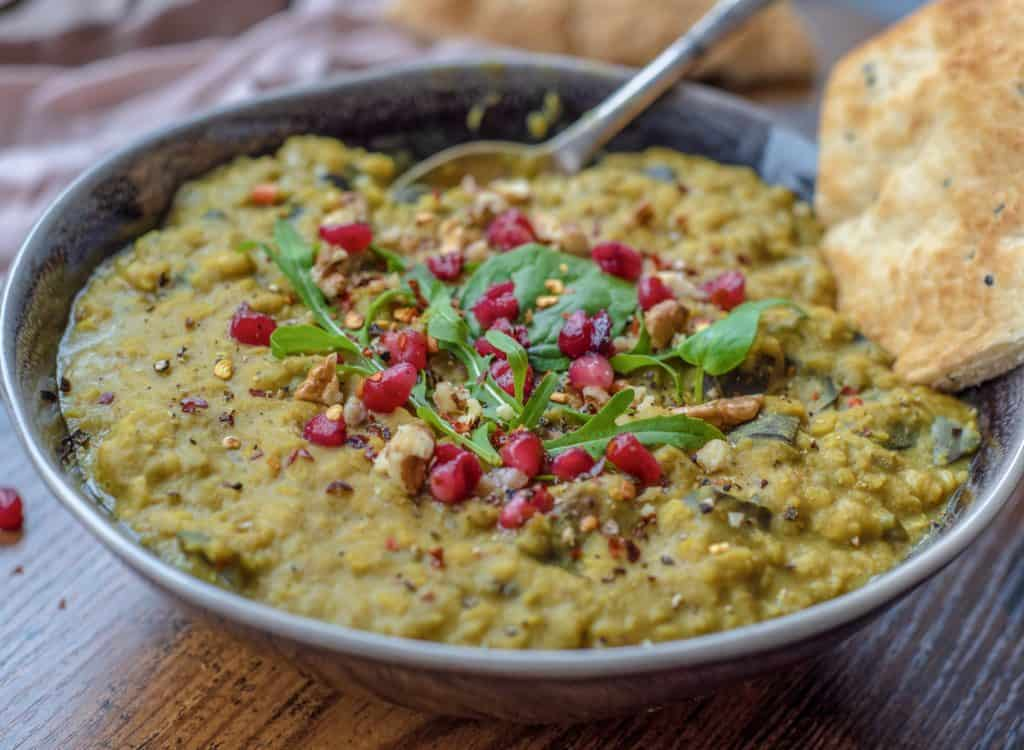 Easy aubergine and lentil dhal is a quick recipe perfect for those evenings when you want some tasty comfort food and you want it NOW! Vegan & gluten free! #veganrecipes #cleaneatingrecipes #cleaneating #cleanvegan #cleanvegetarian #healthyvegan #healthydinner #easydinner #cleanrecipes