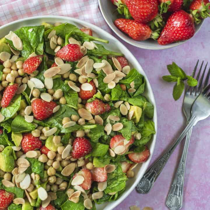 The best healthy salad recipe which combines all my favorite vegetables and fruit in one delicious bite. Serve with my orange dressing that ups the crunch!