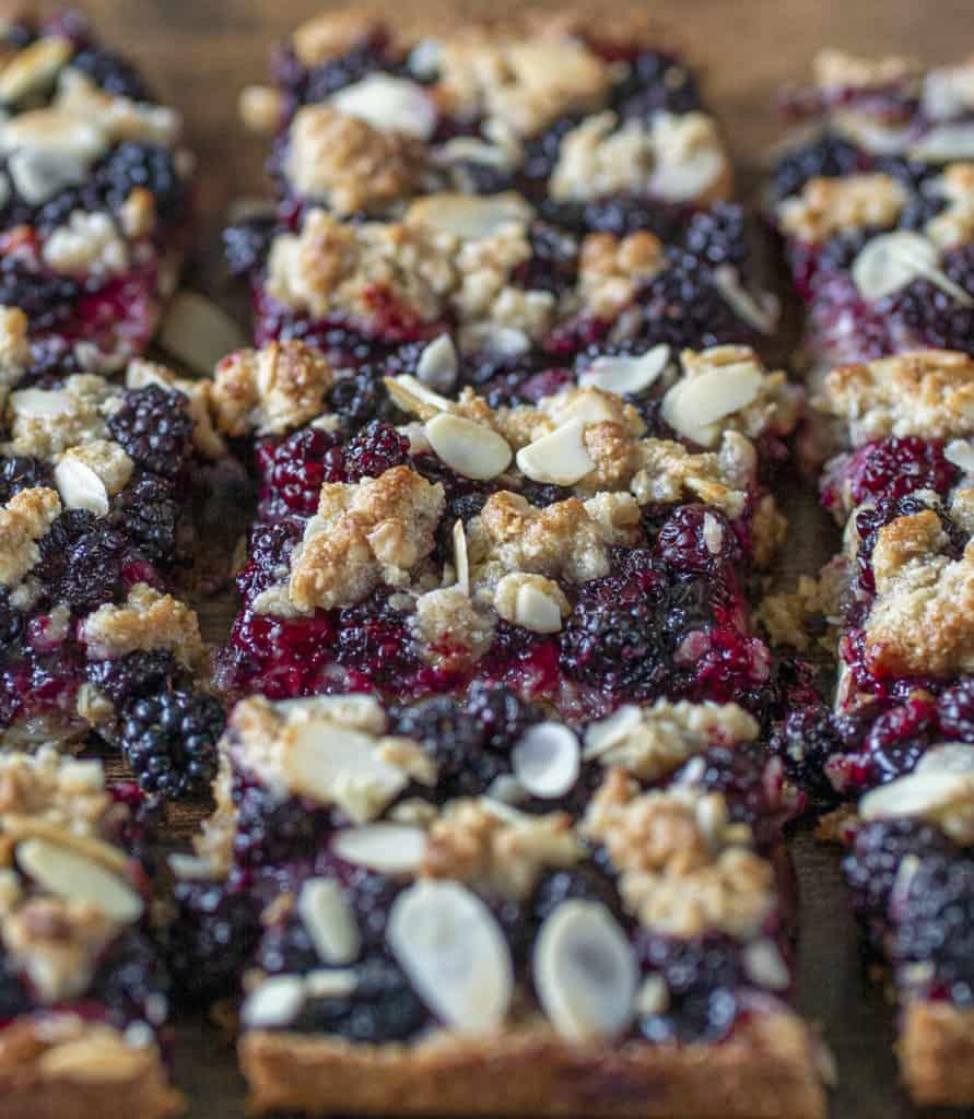 Vegan Crumble Bars made with freshly picked blackberries