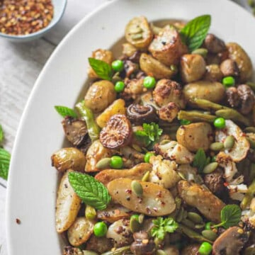 ROASTED JERSEY POTATOES WITH MUSTARD DRESSING