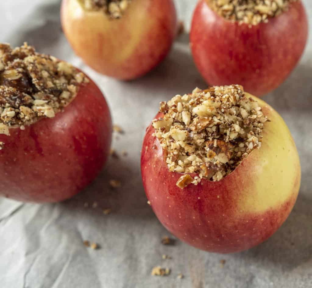 Stuffed baked apples with nuts and cinnamon