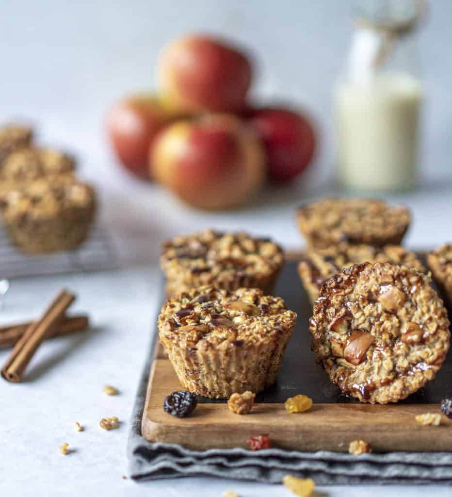 These healthy Apple Muffins are simple and satisfying. Made with apples, oats, nut butter and no refined sugar, you will feel good eating one or two! #veganrecipes #veganfood #cleaneating #healthyrecipes #glutenfree #dairyfree #comfortfood