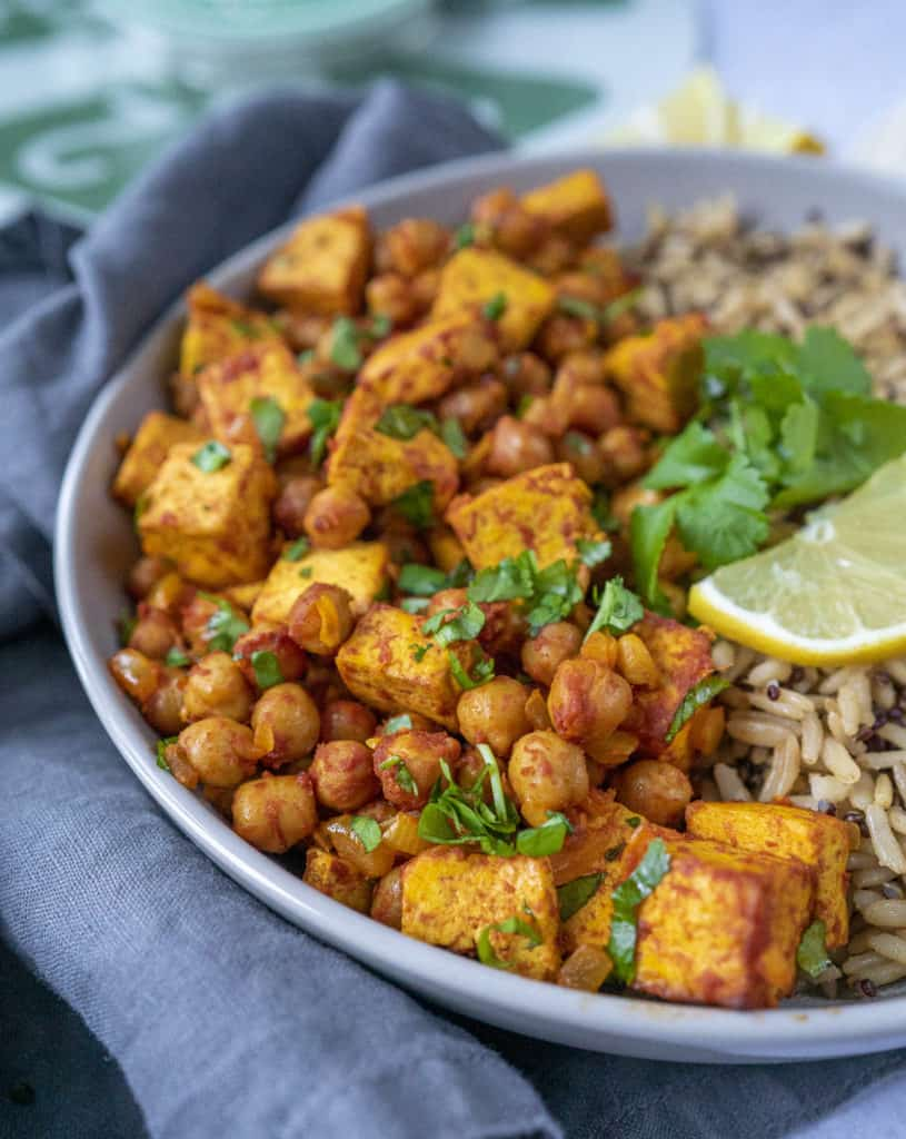This ActiFry chickpea and tofu stew made in an Air Fryer is a delicious, easy, fully plant-based and packed with loads of flavour.