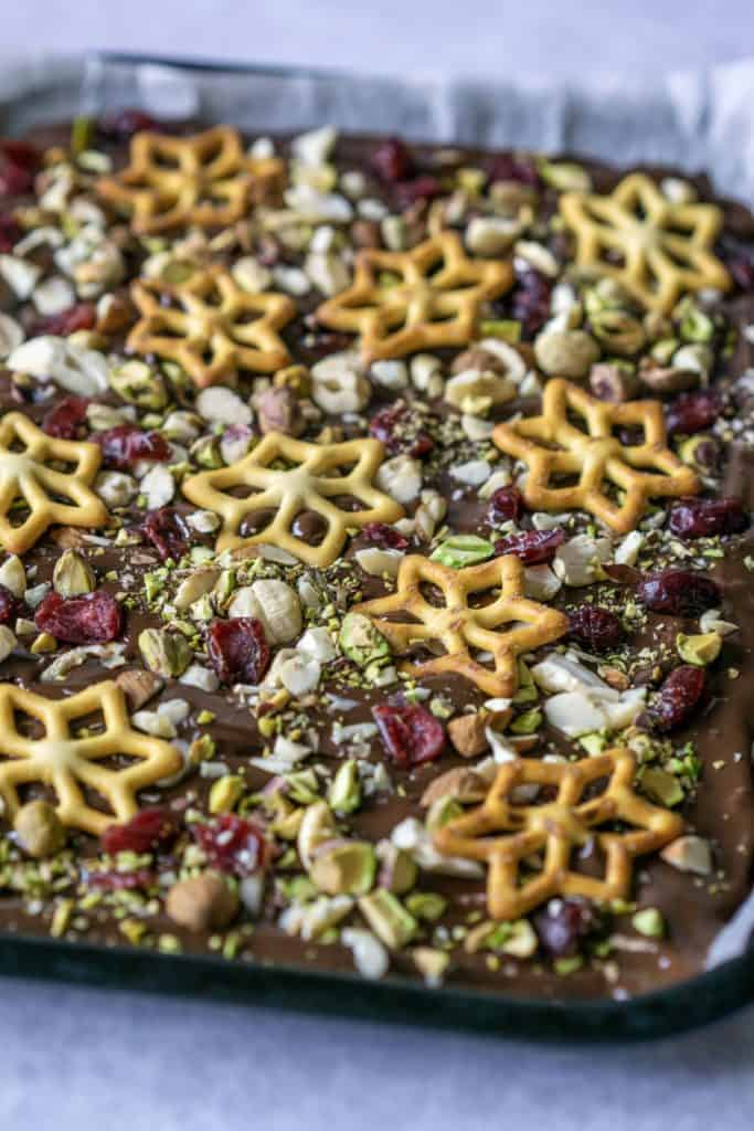 Festive Chocolate Bark is a delicious treat to give or to eat this Christmas. No need to make a batch of cookies when you can whip up some chocolate bark.