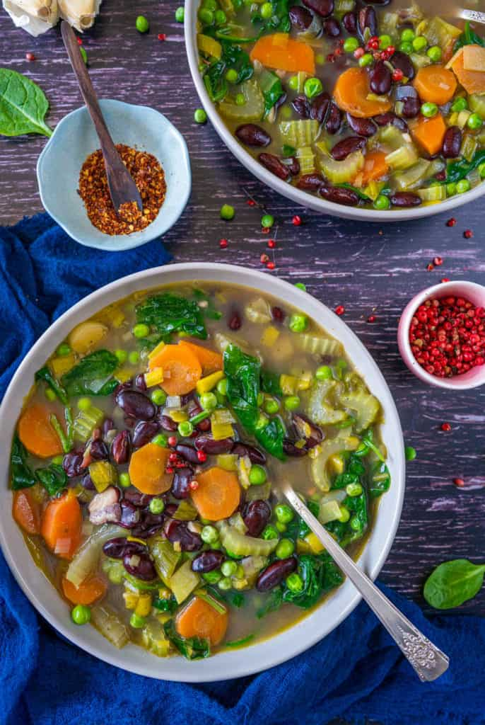 Healthy and easy vegetable soup recipe which is utterly delicious, hearty, filling, and soooo good for you. It happens to be vegan and gluten-free too!