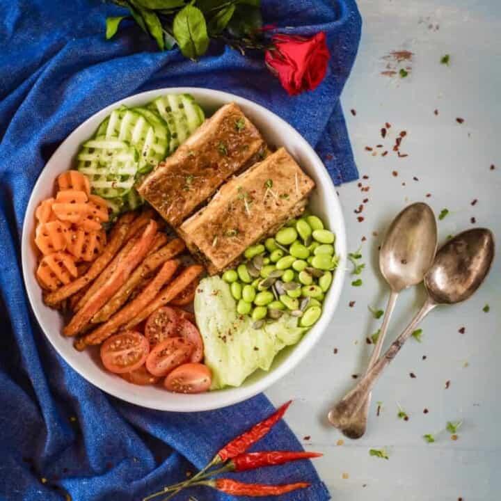 Peanut butter baked tofu Buddha bowl recipe