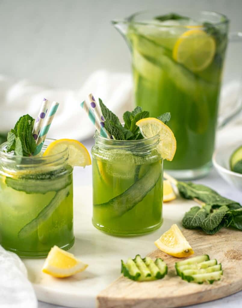 Delicious and easy recipe for cucumber lemonade. The perfect drink for summer or anytime you fancy something refreshing. Healthy too!