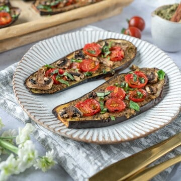 Aubergine Pizza with Pesto Hummus which is a wonderful mid week lunch or dinner that packs a lot of vegetables, flavours and different textures.