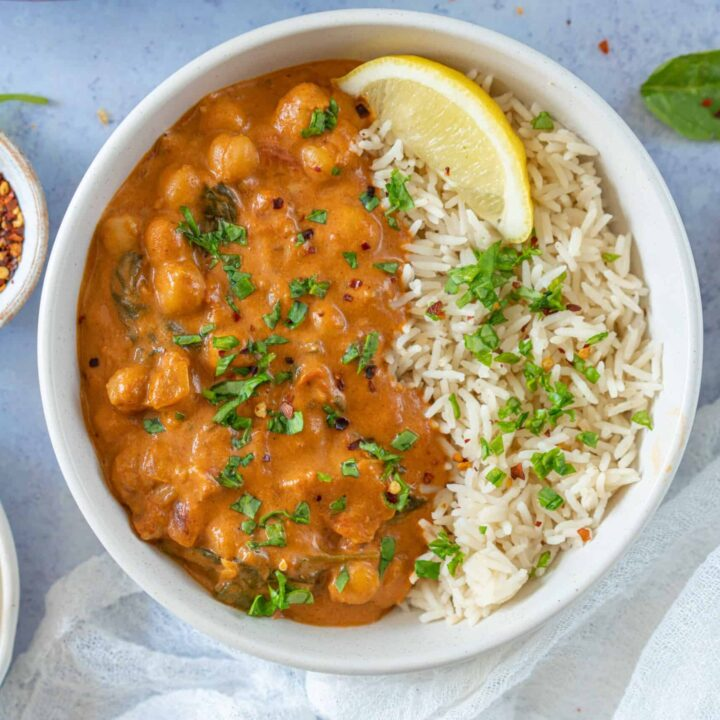 This easy chickpea curry recipe is so delicious and simple to make. It is hard to believe that in only 10 minutes you can have homemade chickpea curry on the table and ready to eat!