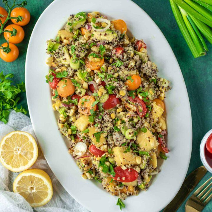 Grilled Corn,  and Quinoa Salad Recipe