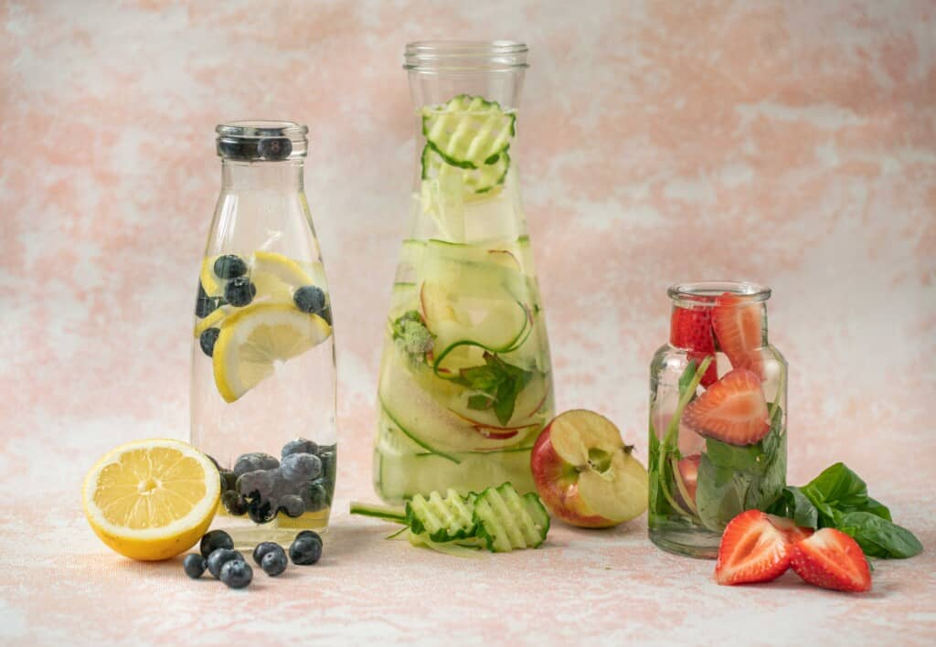 Fruit Infused Water 3 Ways! It's delicious, refreshing,easy and makes drinking those recommended 6 - 8 glasses of water a day so much easier.