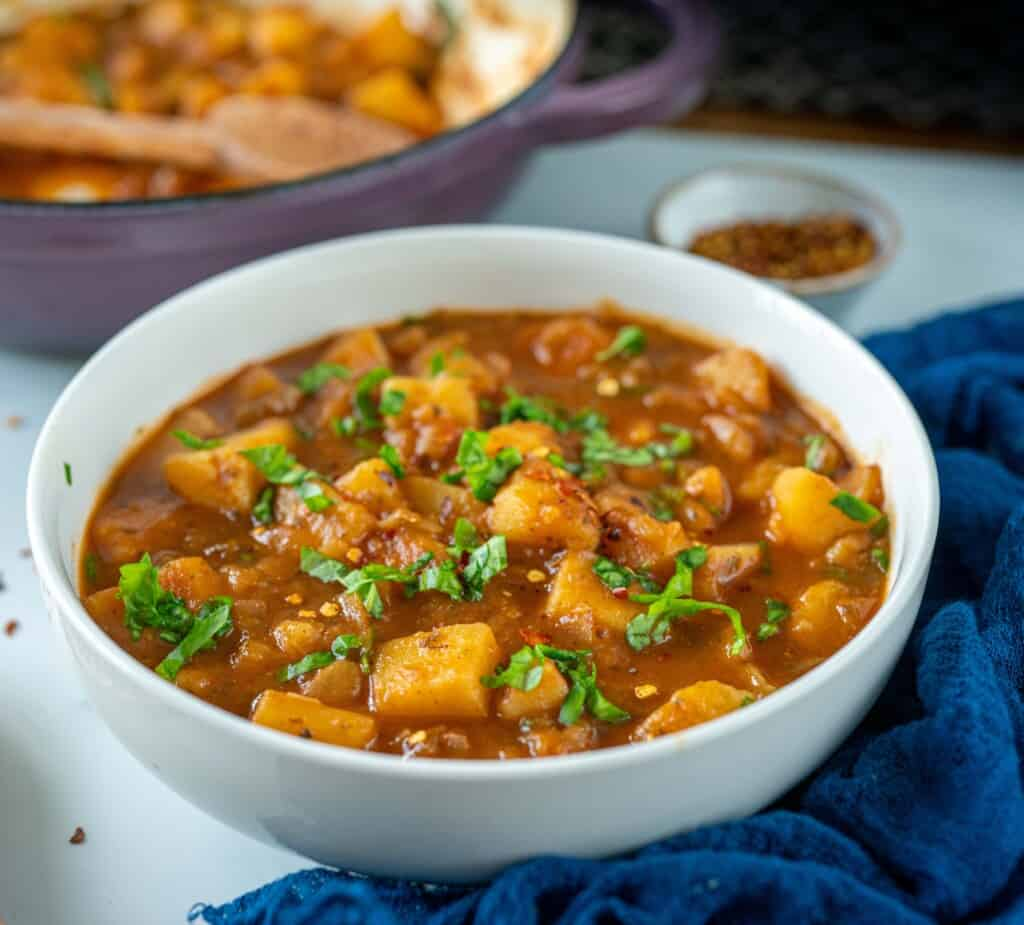 Easy healthy goulash with potatoes and spices