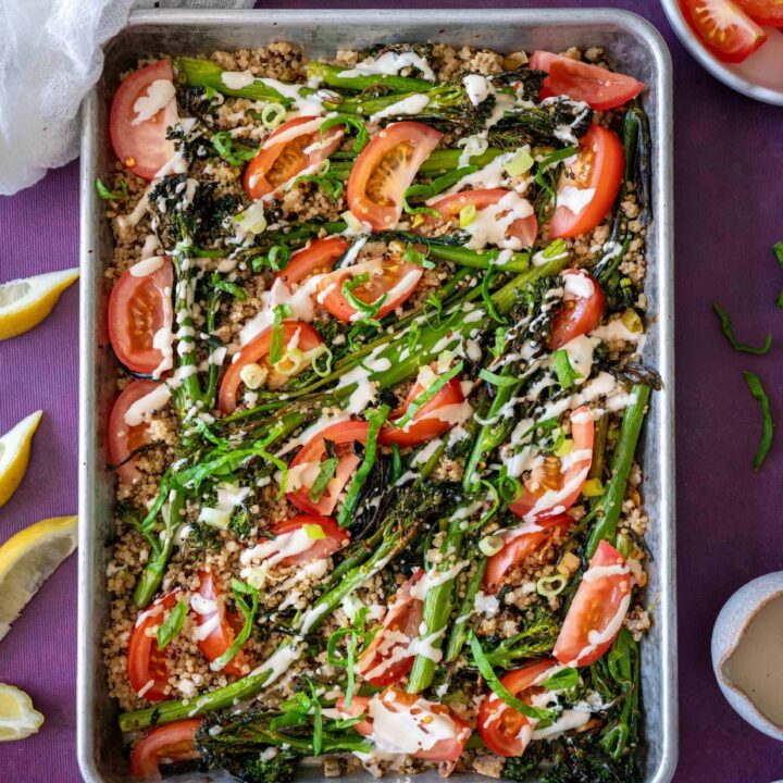 EasyRoasted Broccoli and Quinoa Saladrecipe with a creamy tahini lemon dressing making every forkful more delicious than the last. Naturally vegan, gluten- free ready in 20 minutes.